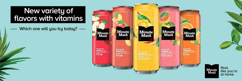 5 kleurrijke blikjes Minute Maid in de smaken Apple, Peach, Mango, Guava, Orange tegen een blauwe achtergrond met de slogan Real Like You're At Home